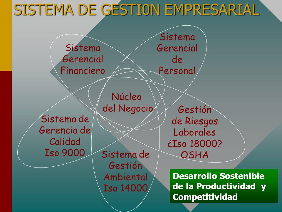 SISTEMA DE GESTI0N EMPRESARIAL Sistema Gerencial Financiero Sistema Gerencial de Personal Sistema de Gerencia de Calidad Iso 9000 Sistema de Gestión Ambiental Iso 14000 Gestión de Riesgos Laborales ¿Iso 18000.