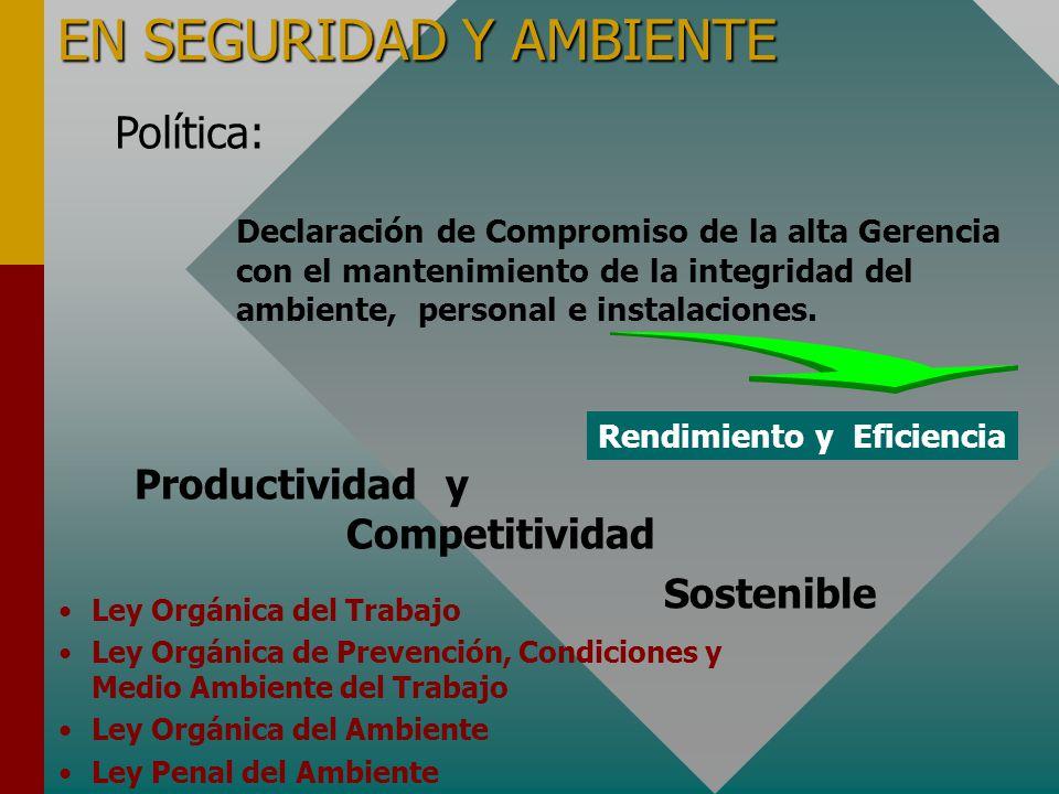 EN SEGURIDAD Y AMBIENTE Política: Declaración de Compromiso de la alta Gerencia con el mantenimiento de la integridad del ambiente, personal e instalaciones.