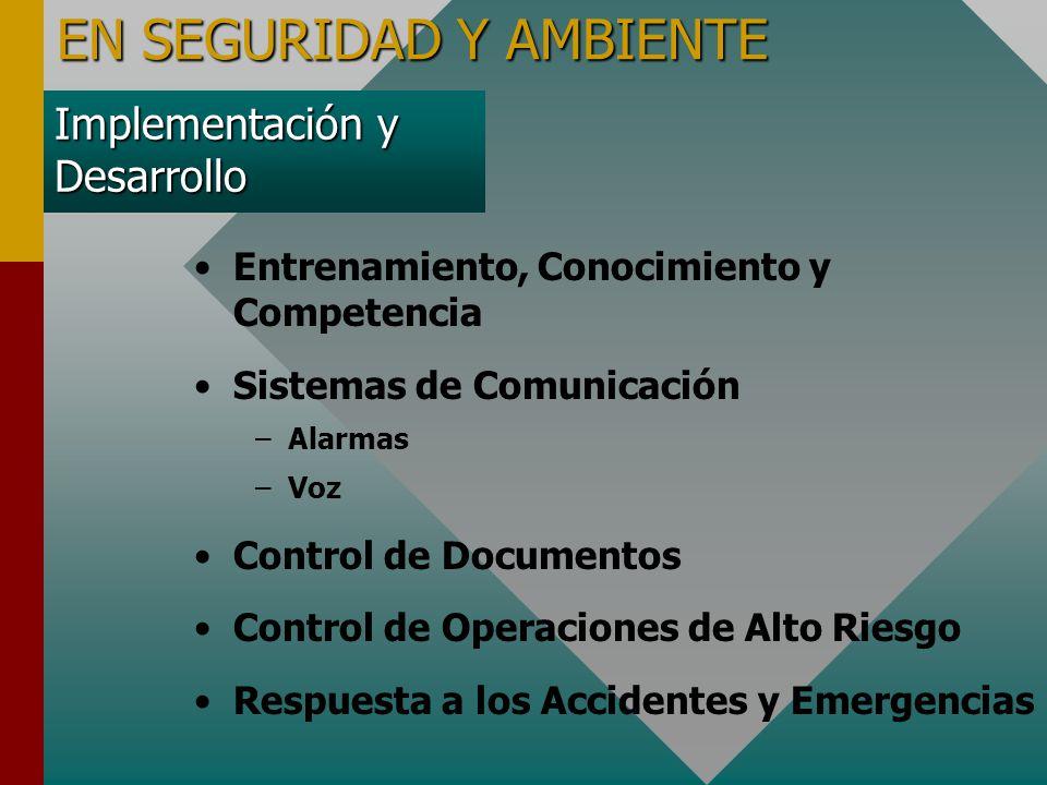 Implementación y Desarrollo Entrenamiento, Conocimiento y Competencia Sistemas de Comunicación – –Alarmas – –Voz Control de Documentos Control de Operaciones de Alto Riesgo Respuesta a los Accidentes y Emergencias EN SEGURIDAD Y AMBIENTE