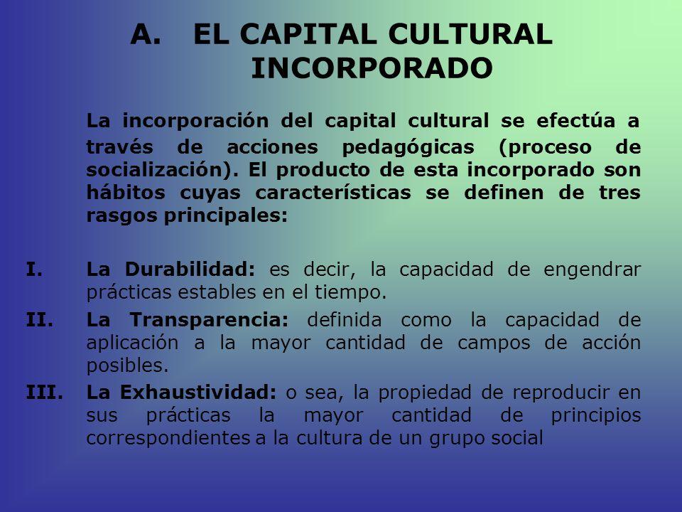 A.EL CAPITAL CULTURAL INCORPORADO La incorporación del capital cultural se efectúa a través de acciones pedagógicas (proceso de socialización). El pro