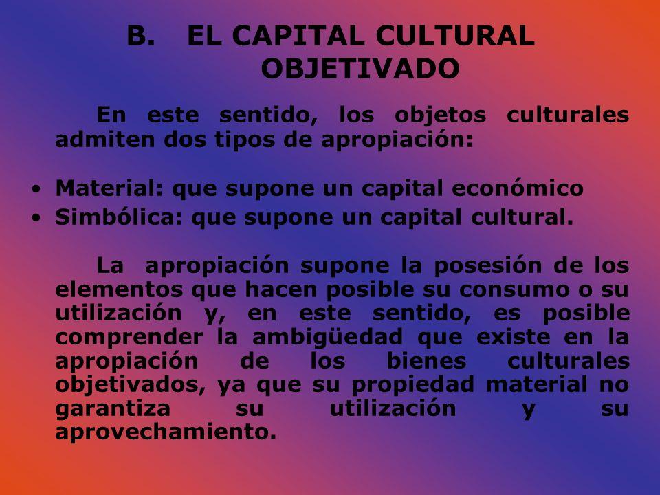 B.EL CAPITAL CULTURAL OBJETIVADO En este sentido, los objetos culturales admiten dos tipos de apropiación: Material: que supone un capital económico S