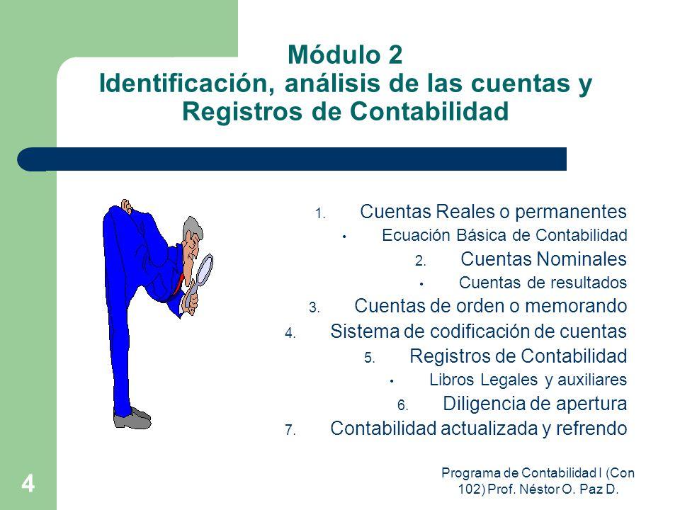 Programa de Contabilidad I (Con 102) Prof. Néstor O. Paz D. 4 Módulo 2 Identificación, análisis de las cuentas y Registros de Contabilidad 1. Cuentas