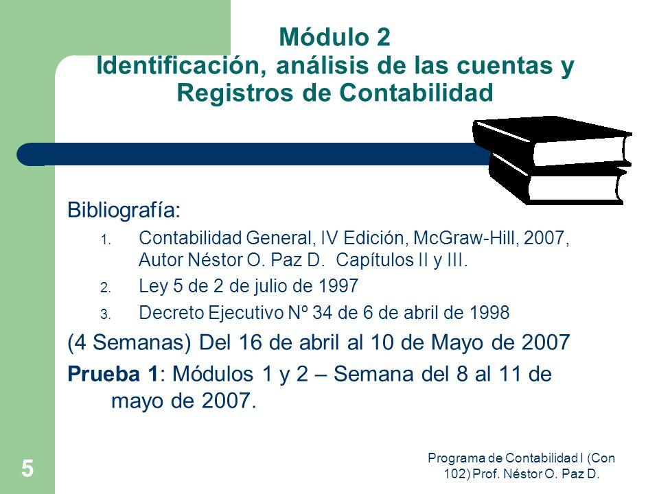 Programa de Contabilidad I (Con 102) Prof. Néstor O. Paz D. 5 Módulo 2 Identificación, análisis de las cuentas y Registros de Contabilidad Bibliografí