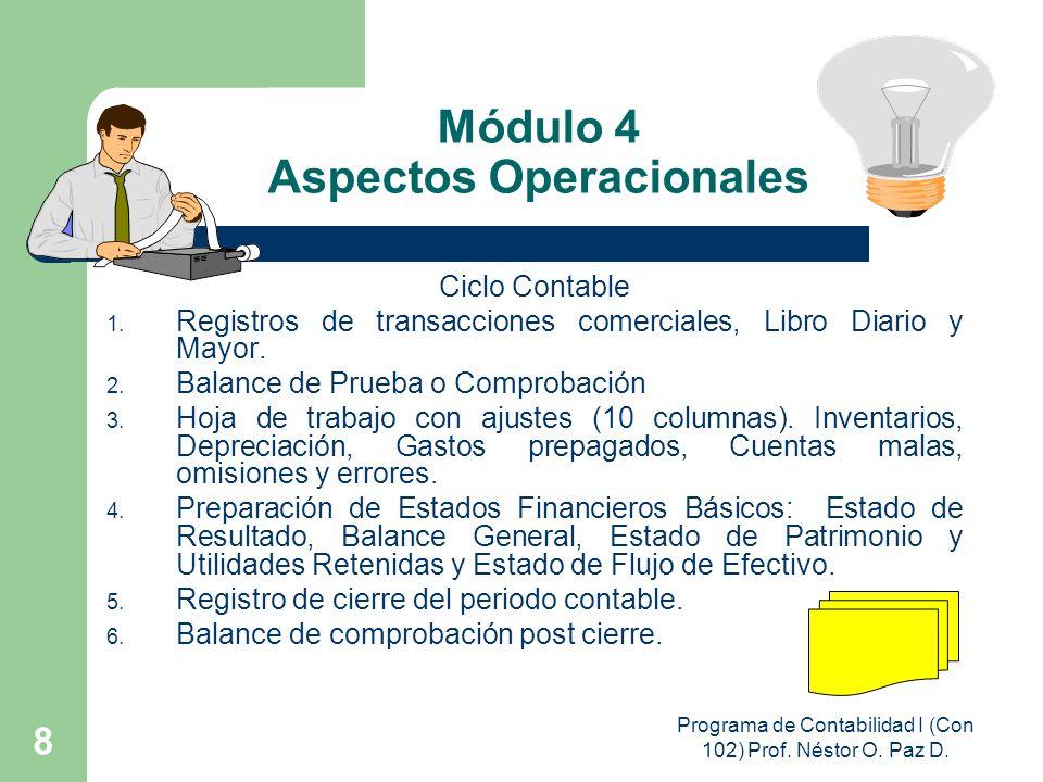 Programa de Contabilidad I (Con 102) Prof. Néstor O. Paz D. 8 Módulo 4 Aspectos Operacionales Ciclo Contable 1. Registros de transacciones comerciales