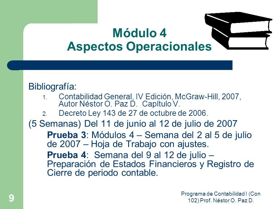 Programa de Contabilidad I (Con 102) Prof. Néstor O. Paz D. 9 Módulo 4 Aspectos Operacionales Bibliografía: 1. Contabilidad General, IV Edición, McGra