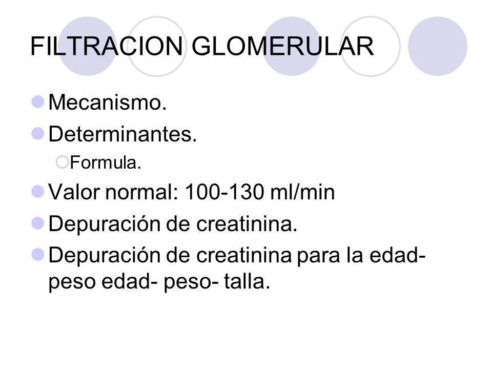 FILTRACION GLOMERULAR Mecanismo. Determinantes. Formula. Valor normal: 100-130 ml/min Depuración de creatinina. Depuración de creatinina para la edad-
