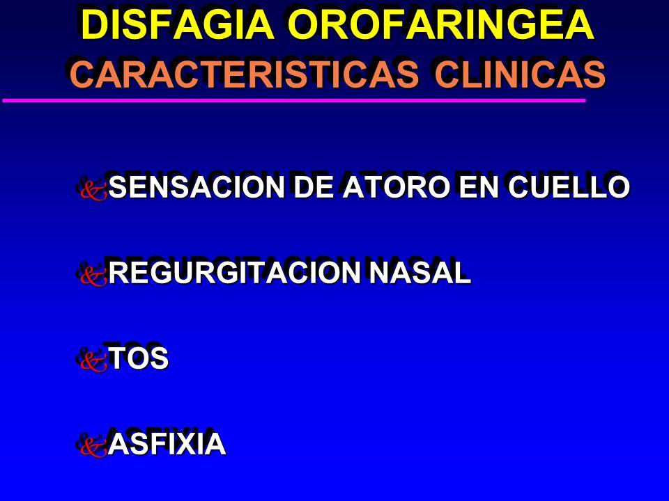 DISFAGIA OROFARINGEA CARACTERISTICAS CLINICAS DISFAGIA OROFARINGEA CARACTERISTICAS CLINICAS k SENSACION DE ATORO EN CUELLO k REGURGITACION NASAL k TOS