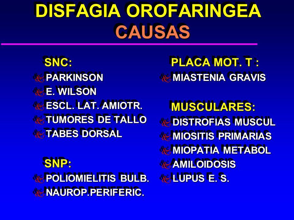 DISFAGIA OROFARINGEA CAUSAS DISFAGIA OROFARINGEA CAUSAS SNC: SNC: k PARKINSON k E. WILSON k ESCL. LAT. AMIOTR. k TUMORES DE TALLO k TABES DORSAL SNP: