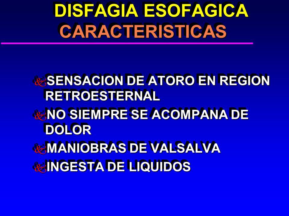 DISFAGIA ESOFAGICA CARACTERISTICAS DISFAGIA ESOFAGICA CARACTERISTICAS k SENSACION DE ATORO EN REGION RETROESTERNAL k NO SIEMPRE SE ACOMPANA DE DOLOR k