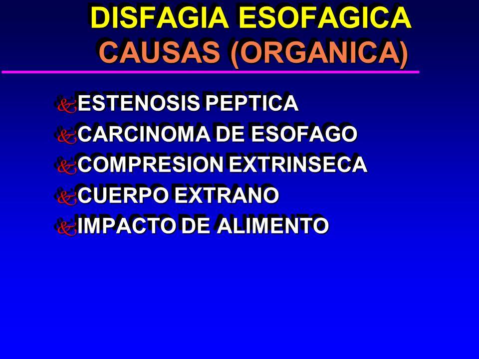 DISFAGIA ESOFAGICA CAUSAS (ORGANICA) DISFAGIA ESOFAGICA CAUSAS (ORGANICA) k ESTENOSIS PEPTICA k CARCINOMA DE ESOFAGO k COMPRESION EXTRINSECA k CUERPO