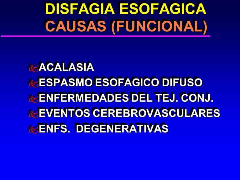 DISFAGIA ESOFAGICA CAUSAS (FUNCIONAL) DISFAGIA ESOFAGICA CAUSAS (FUNCIONAL) k ACALASIA k ESPASMO ESOFAGICO DIFUSO k ENFERMEDADES DEL TEJ. CONJ. k EVEN