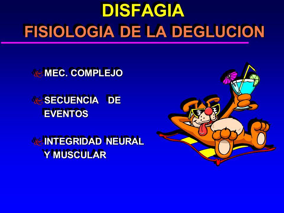 DISFAGIA FISIOLOGIA DE LA DEGLUCION DISFAGIA FISIOLOGIA DE LA DEGLUCION k MEC. COMPLEJO k SECUENCIA DE EVENTOS EVENTOS k INTEGRIDAD NEURAL Y MUSCULAR
