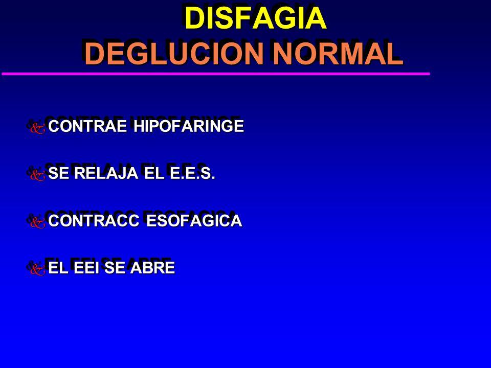 DISFAGIA DEGLUCION NORMAL DISFAGIA DEGLUCION NORMAL k CONTRAE HIPOFARINGE k SE RELAJA EL E.E.S. k CONTRACC ESOFAGICA k EL EEI SE ABRE k CONTRAE HIPOFA