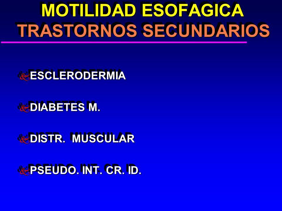 MOTILIDAD ESOFAGICA TRASTORNOS SECUNDARIOS MOTILIDAD ESOFAGICA TRASTORNOS SECUNDARIOS k ESCLERODERMIA k DIABETES M. k DISTR. MUSCULAR k PSEUDO. INT. C