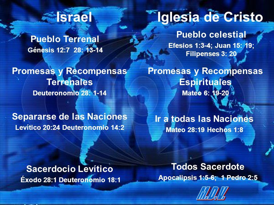Iglesia de Cristo Pueblo Terrenal Génesis 12:7 28: 13-14 Promesas y Recompensas Terrenales Deuteronomio 28: 1-14 Israel Pueblo celestial Efesios 1:3-4