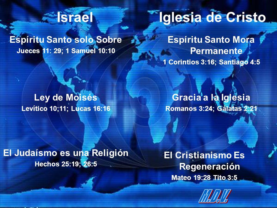 IsraelIglesia de Cristo Espíritu Santo solo Sobre Jueces 11: 29; 1 Samuel 10:10 Espíritu Santo Mora Permanente 1 Corintios 3:16; Santiago 4:5 Ley de M