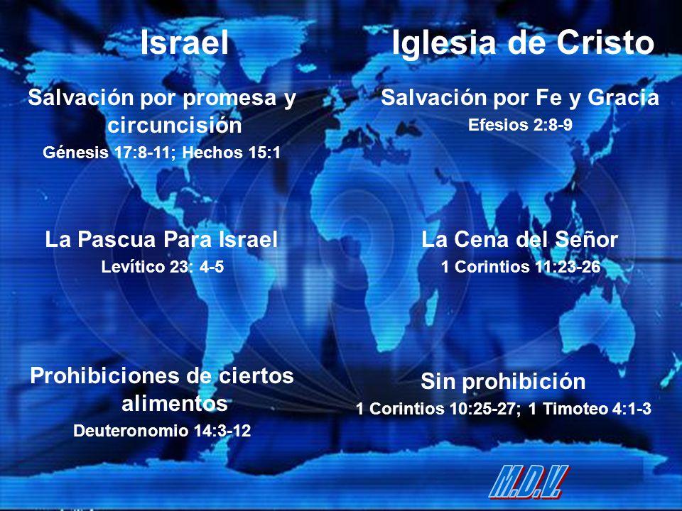 IsraelIglesia de Cristo Salvación por promesa y circuncisión Génesis 17:8-11; Hechos 15:1 Salvación por Fe y Gracia Efesios 2:8-9 La Pascua Para Israe
