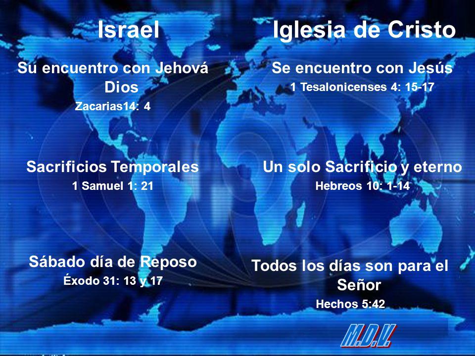 IsraelIglesia de Cristo Su encuentro con Jehová Dios Zacarias14: 4 Se encuentro con Jesús 1 Tesalonicenses 4: 15-17 Sacrificios Temporales 1 Samuel 1:
