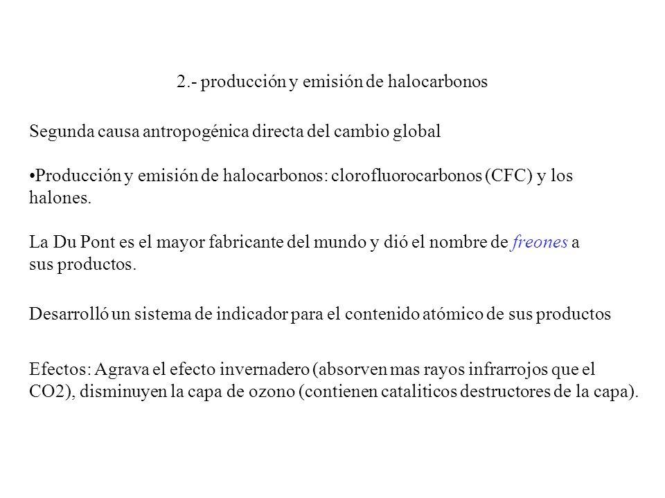 2.- producción y emisión de halocarbonos Segunda causa antropogénica directa del cambio global Producción y emisión de halocarbonos: clorofluorocarbonos (CFC) y los halones.