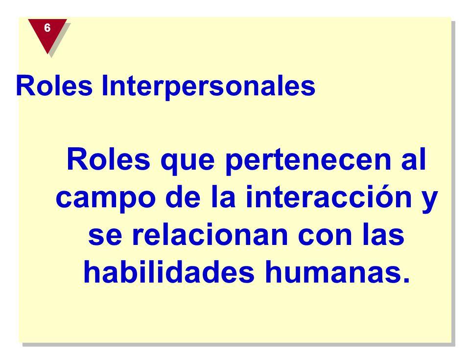 Roles Interpersonales Roles que pertenecen al campo de la interacción y se relacionan con las habilidades humanas. 6 6