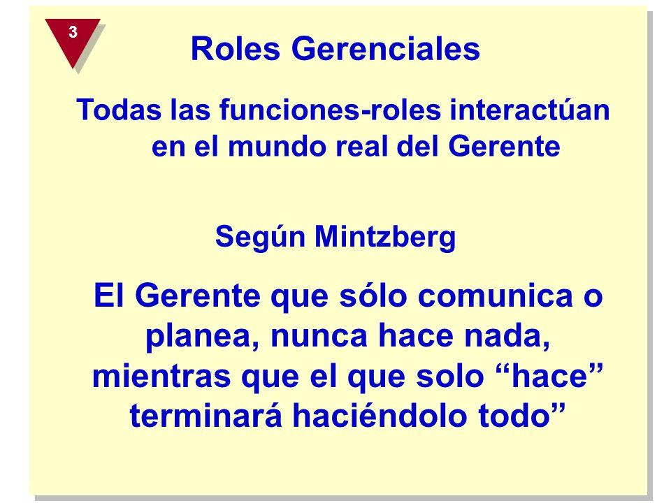 Roles Gerenciales Según Mintzberg El Gerente que sólo comunica o planea, nunca hace nada, mientras que el que solo hace terminará haciéndolo todo Toda