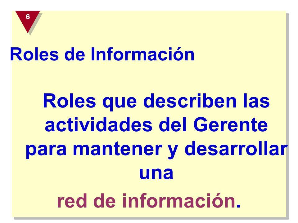 Roles de Información Roles que describen las actividades del Gerente para mantener y desarrollar una red de información. 6 6