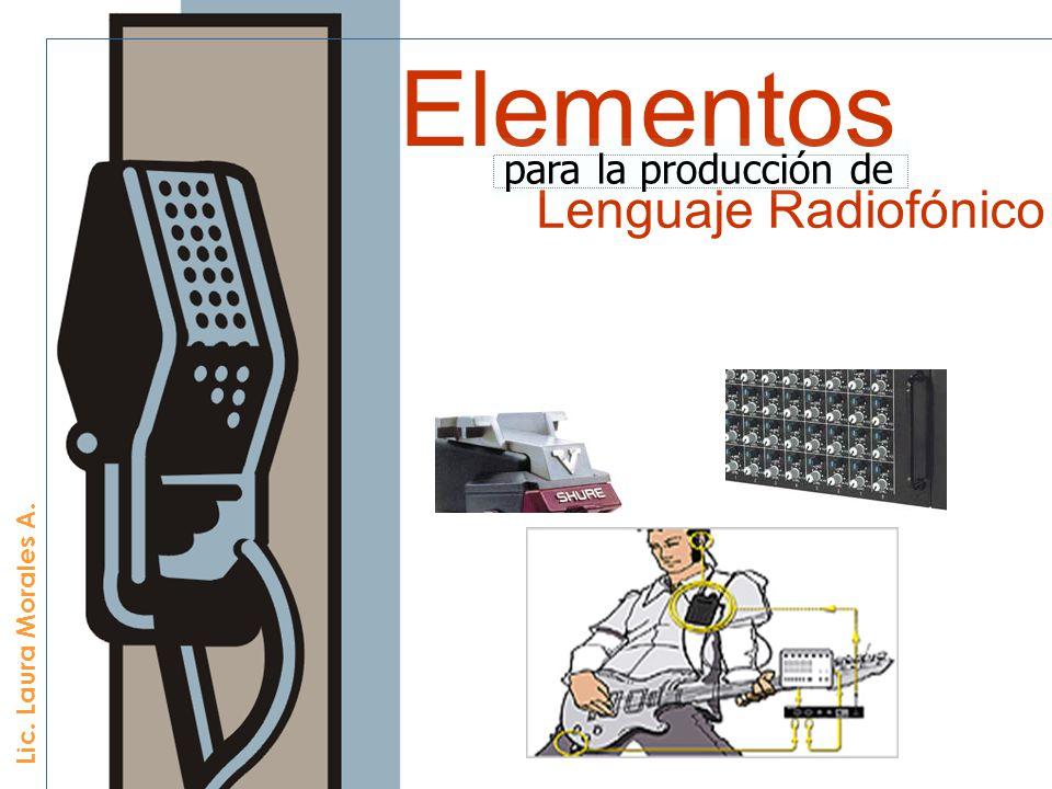 Música, Efectos de sonido, Voz (palabra hablada), Palabra escrita (Guión) Elementos estéticos LENGUAJE RADIOFÓNICO
