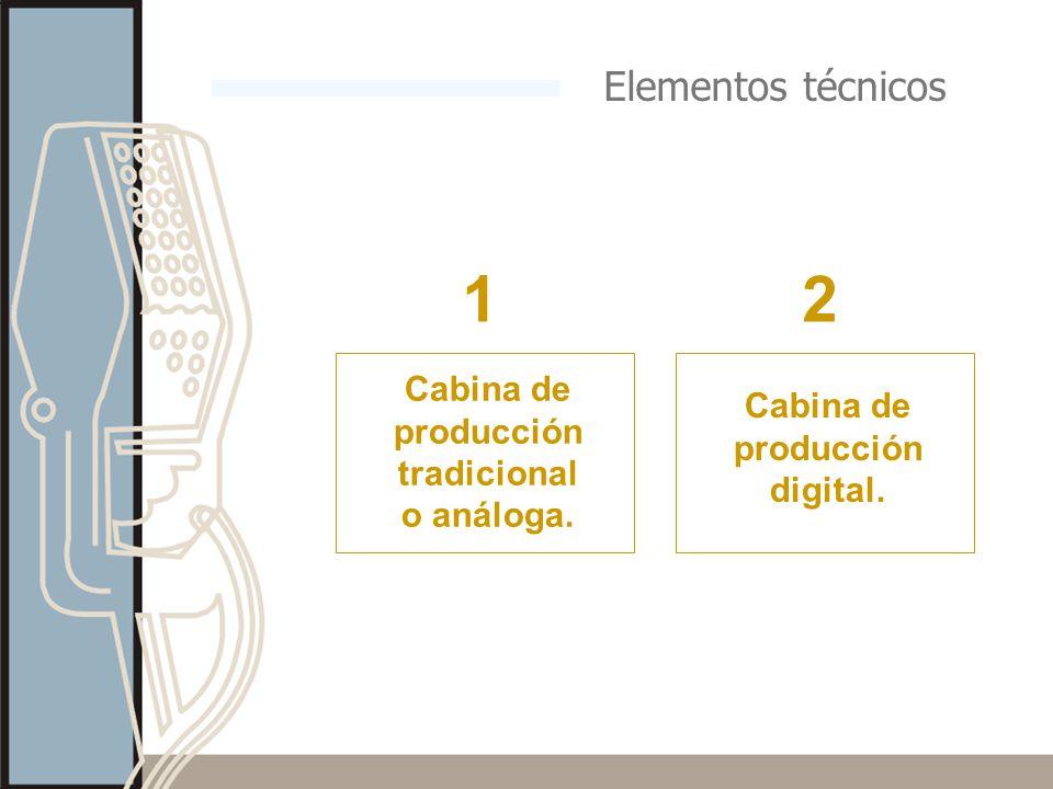 Elementos técnicos Cabina de producción tradicional o análoga. Cabina de producción digital. 12