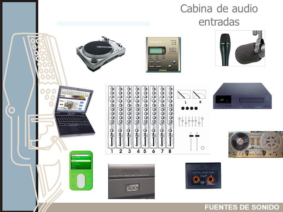 Cabina de audio entradas FUENTES DE SONIDO