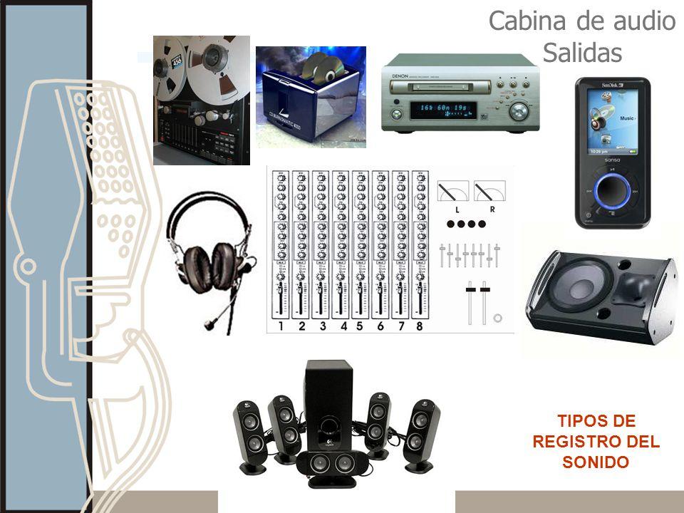 Cabina de audio Salidas TIPOS DE REGISTRO DEL SONIDO