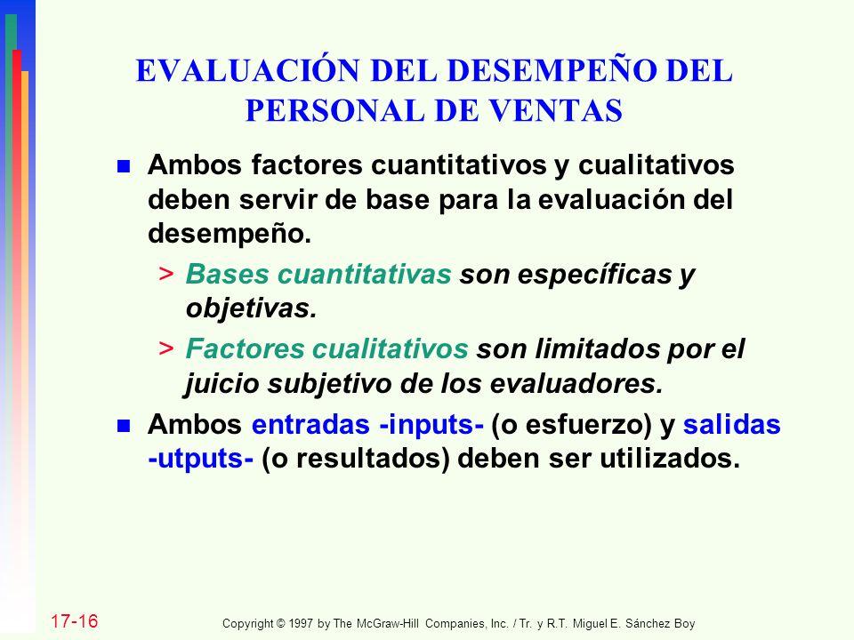 EVALUACIÓN DEL DESEMPEÑO DEL PERSONAL DE VENTAS n Ambos factores cuantitativos y cualitativos deben servir de base para la evaluación del desempeño. >