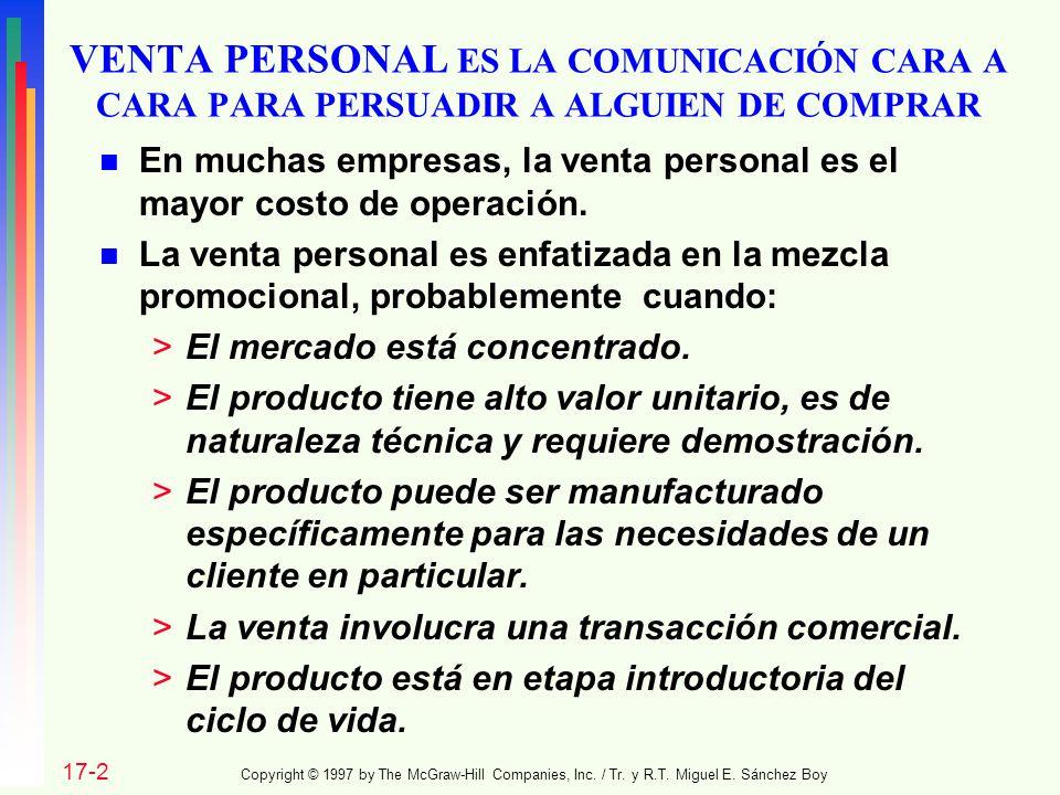 VENTA PERSONAL ES LA COMUNICACIÓN CARA A CARA PARA PERSUADIR A ALGUIEN DE COMPRAR n En muchas empresas, la venta personal es el mayor costo de operaci