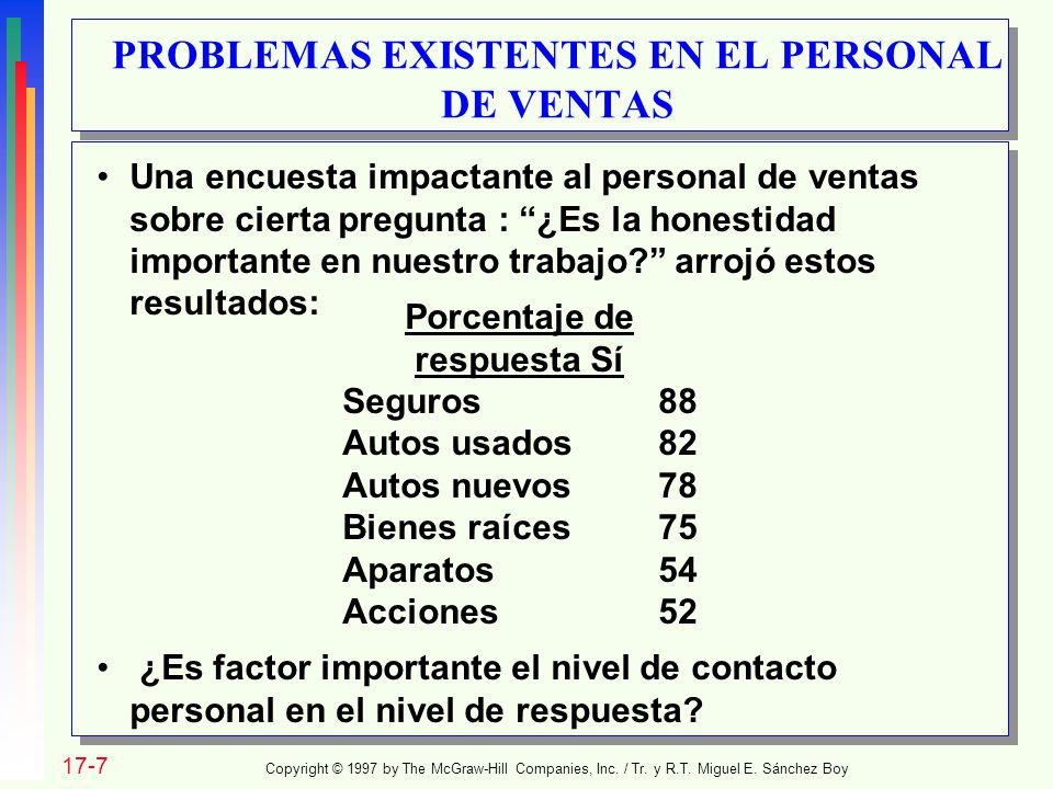 PROBLEMAS EXISTENTES EN EL PERSONAL DE VENTAS Copyright © 1997 by The McGraw-Hill Companies, Inc. / Tr. y R.T. Miguel E. Sánchez Boy 17-7 Una encuesta