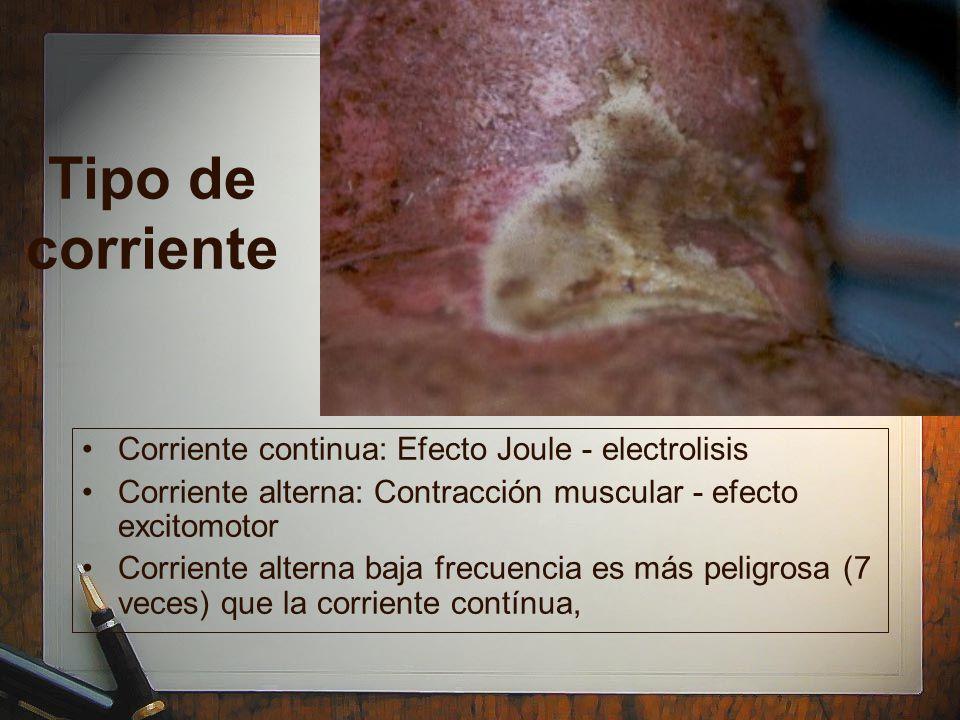 Tipo de corriente Corriente continua: Efecto Joule - electrolisis Corriente alterna: Contracción muscular - efecto excitomotor Corriente alterna baja