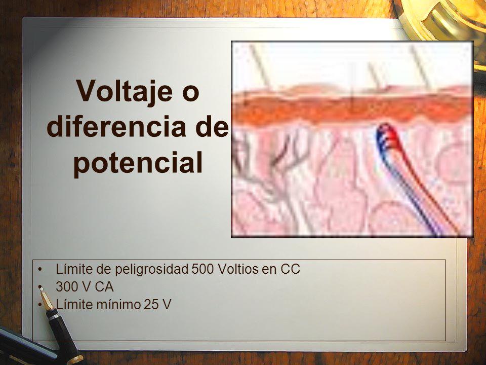 Voltaje o diferencia de potencial Límite de peligrosidad 500 Voltios en CC 300 V CA Límite mínimo 25 V Límite de peligrosidad 500 Voltios en CC 300 V