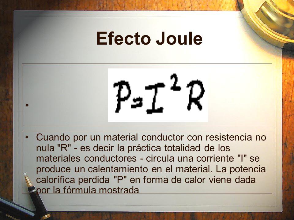 Efecto Joule Cuando por un material conductor con resistencia no nula