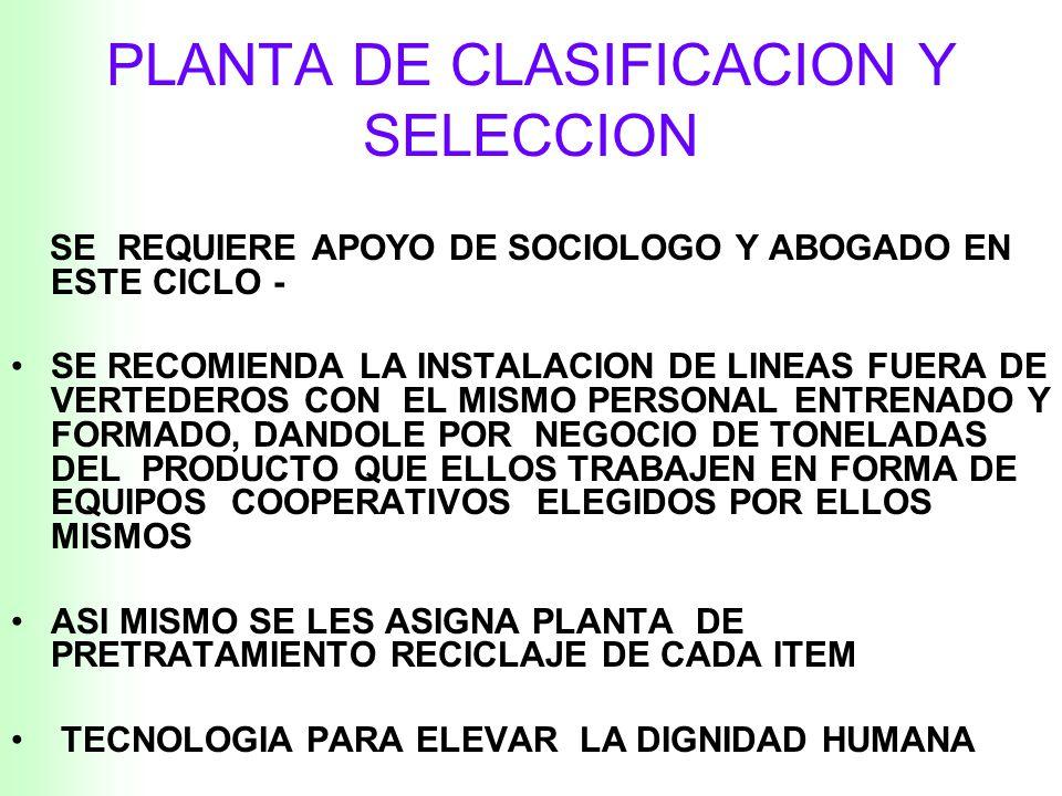II.-PLANTA DE CLASIFICACION Y SELECCION LO MAS DIFICIL DE ESTE SISTEMA NO ESTA EN LO TECNICO, SI NO EN LA REINSERCION DE ESTAS PERSONAS A UN SISTEMA Q