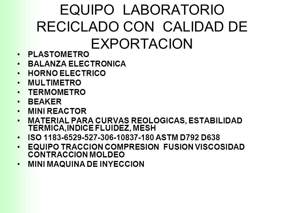 RECICLAJE DE PLASTICOS MATERIA VIRGEN Q1 RECICLADO Q2 Q1 +Q2