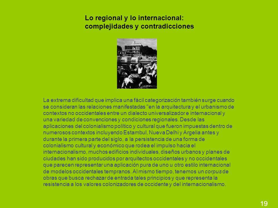 19 Lo regional y lo internacional: complejidades y contradicciones La extrema dificultad que implica una fácil categorización también surge cuando se