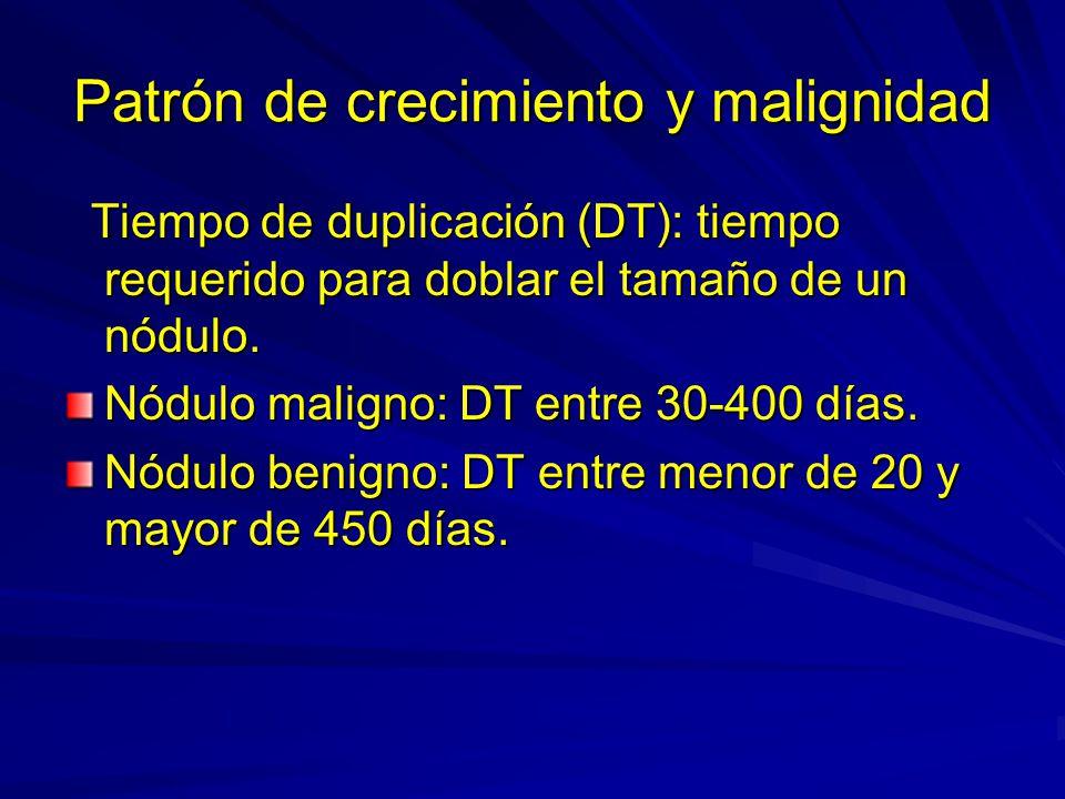 Patrón de crecimiento y malignidad Tiempo de duplicación (DT): tiempo requerido para doblar el tamaño de un nódulo. Tiempo de duplicación (DT): tiempo