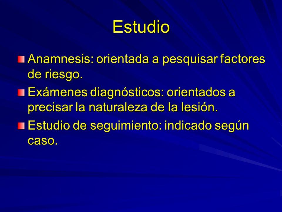 Estudio Anamnesis: orientada a pesquisar factores de riesgo. Exámenes diagnósticos: orientados a precisar la naturaleza de la lesión. Estudio de segui