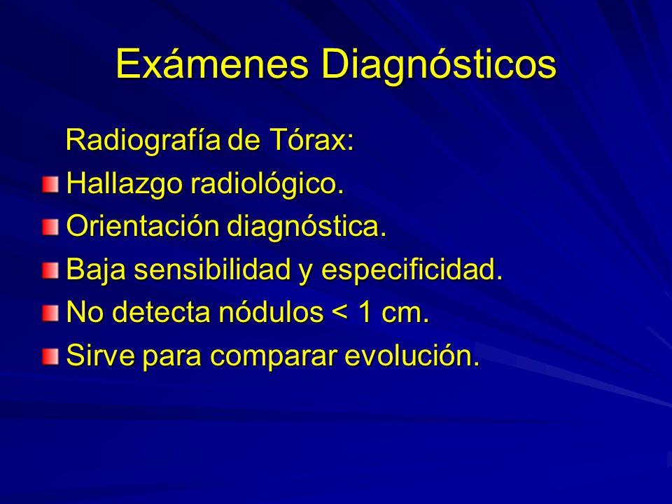 Exámenes Diagnósticos Radiografía de Tórax: Radiografía de Tórax: Hallazgo radiológico. Orientación diagnóstica. Baja sensibilidad y especificidad. No