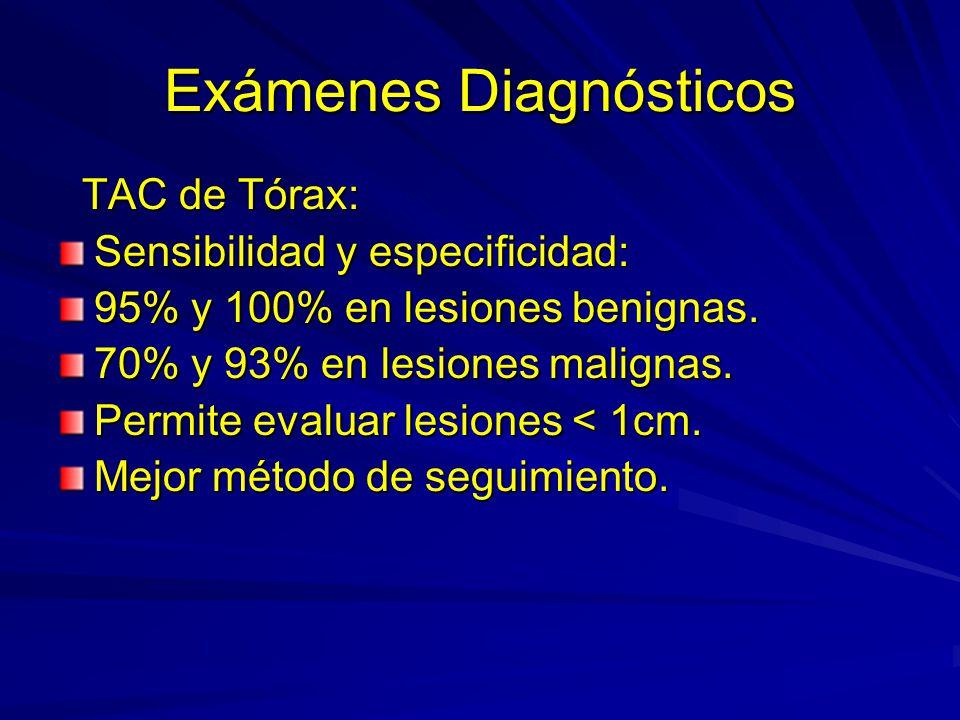 Exámenes Diagnósticos TAC de Tórax: TAC de Tórax: Sensibilidad y especificidad: 95% y 100% en lesiones benignas. 70% y 93% en lesiones malignas. Permi