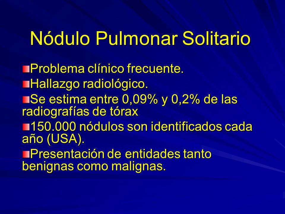 Nódulo Pulmonar Solitario Problema clínico frecuente. Hallazgo radiológico. Se estima entre 0,09% y 0,2% de las radiografías de tórax 150.000 nódulos