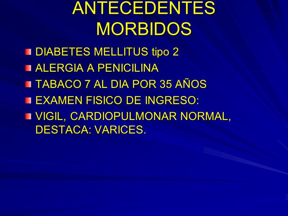 ANTECEDENTES MORBIDOS DIABETES MELLITUS tipo 2 ALERGIA A PENICILINA TABACO 7 AL DIA POR 35 AÑOS EXAMEN FISICO DE INGRESO: VIGIL, CARDIOPULMONAR NORMAL