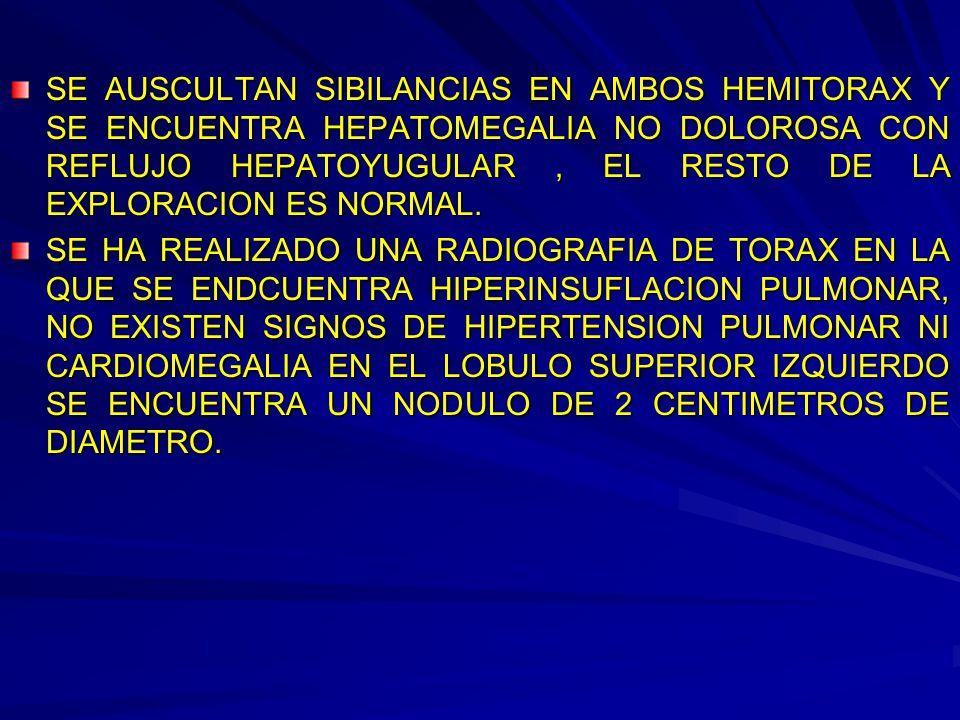 SE AUSCULTAN SIBILANCIAS EN AMBOS HEMITORAX Y SE ENCUENTRA HEPATOMEGALIA NO DOLOROSA CON REFLUJO HEPATOYUGULAR, EL RESTO DE LA EXPLORACION ES NORMAL.