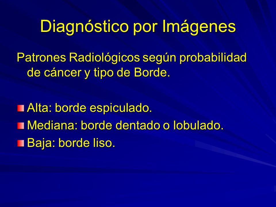 Diagnóstico por Imágenes Patrones Radiológicos según probabilidad de cáncer y tipo de Borde. Alta: borde espiculado. Mediana: borde dentado o lobulado