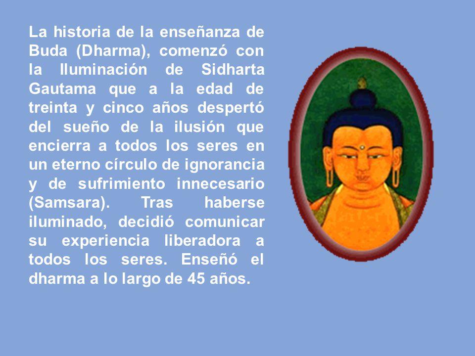 La historia de la enseñanza de Buda (Dharma), comenzó con la Iluminación de Sidharta Gautama que a la edad de treinta y cinco años despertó del sueño