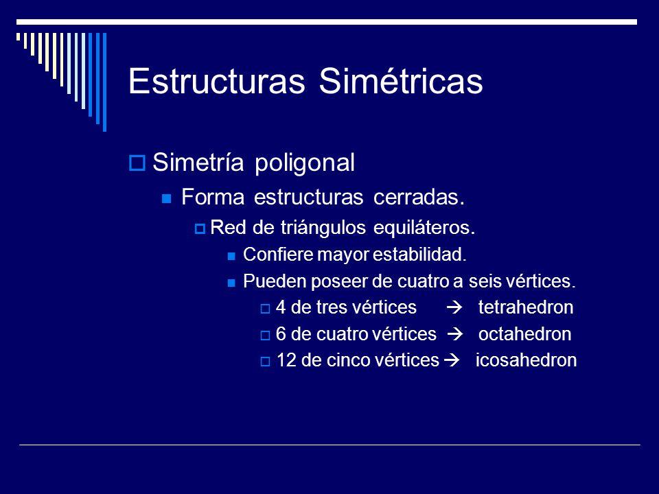 Estructuras Simétricas Simetría poligonal Forma estructuras cerradas. Red de triángulos equiláteros. Confiere mayor estabilidad. Pueden poseer de cuat