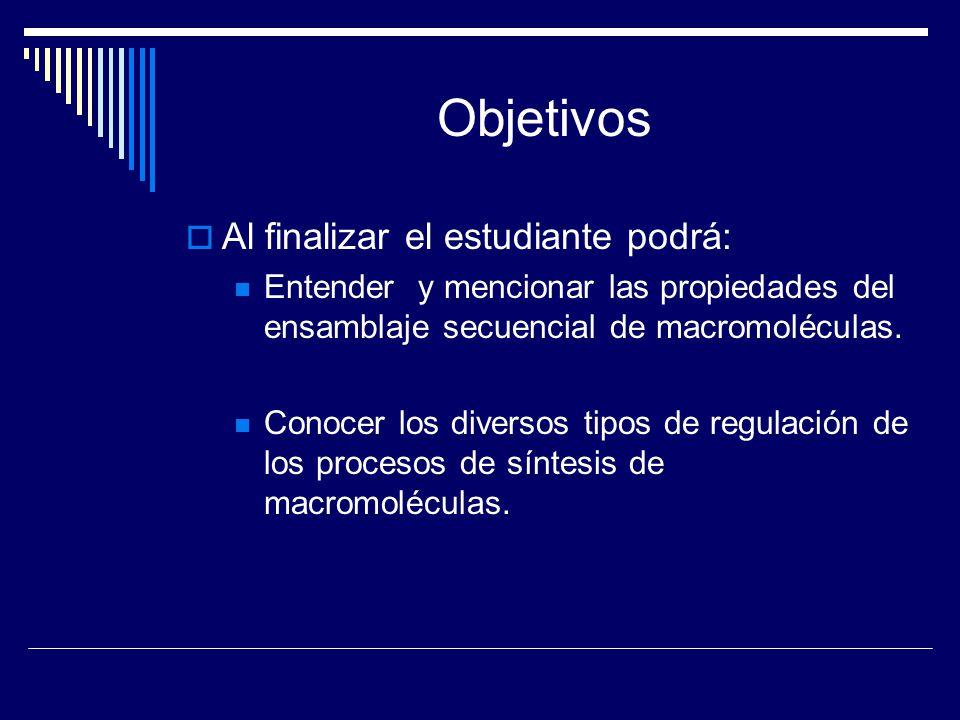 Objetivos Al finalizar el estudiante podrá: Entender y mencionar las propiedades del ensamblaje secuencial de macromoléculas. Conocer los diversos tip